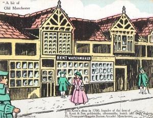 Manchester Kent WW1 Shop Old Grandfather Clock Maker  Postcard Antique Postcard