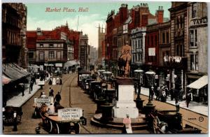 View of Marketplace, Hull, Delivery for Clarence Flour Mills Vintg Postcard I06