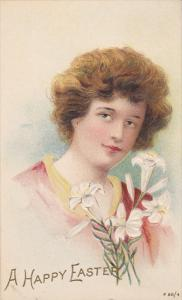 EASTER; A Happy Easter, Woman holding Lilly Flowers, 00-10s