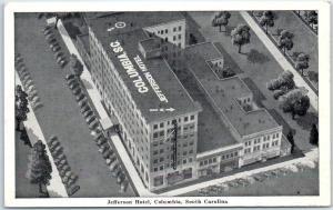 Columbia, South Carolina Postcard JEFFERSON HOTEL Aerial View Graycraft c1940s