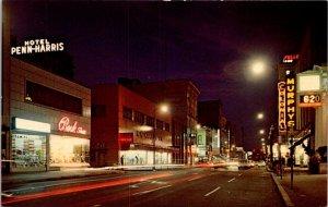 Pennsylvania, Harrisburg - Downtown At Night Looking North Market St - [PA-611]
