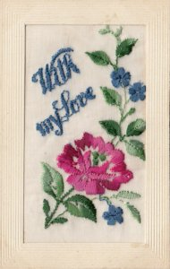 EMBROIDERED , 1900-10s ; Flower , With my Love