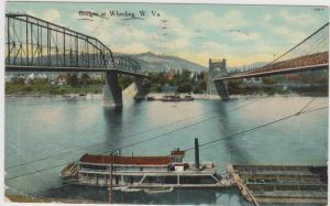 WHEELING , West Virginia, PU-1910 ; Steamship & Bridges # 2