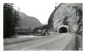 Washington~Stevens Pass Highway~Tunnel~Bridge~River~1940s Ellis RPPC