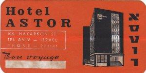 Israel Tel Aviv Hotel Astor Vintage Luggage Label sk2731