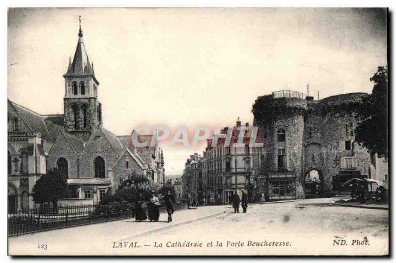Old Postcard The cathedral Laval and Beucheresse door