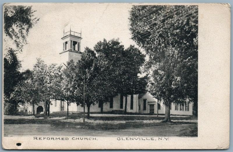 GLENVILLE NY REFORMED CHURCH 1908 ANTIQUE POSTCARD