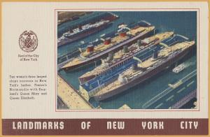 Landmarks of New York, The 3 Largest Ships in the World at New York Harbor-1960'