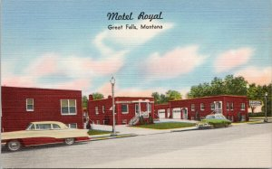Motel Royal Great Falls MT Montana Unused Linen Postcard G41