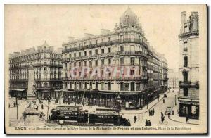 Old Postcard insurance Lyon Carnot monument and the headquarters of the Mutue...