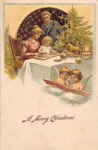 Embossed: A Merry Christmas angel chrubs, family, tree