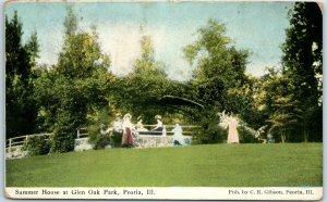 Peoria, Illinois Postcard Ladies Summer House in Glen Oak Park w/ 1909 Cancel
