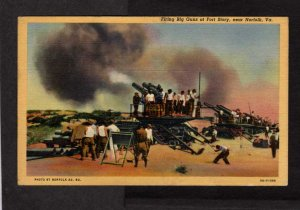 VA Firing Guns Fort Story Army Base Cape Henry nr Norfolk Virginia Postcard