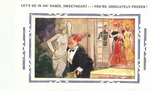 Let's go in an' dance, sweetheart.. Bamforth Comic Series postcard No. 4322