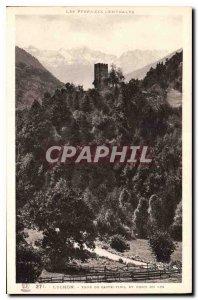 Postcard Luchon Old Tower Caste Vielet Fond du Lys