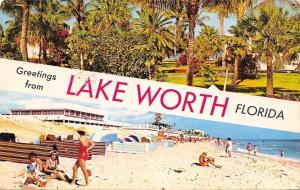 Lake Worth Florida~Banner Greetings~Palm Trees~Bathing Beauty Beaches~1953 PC