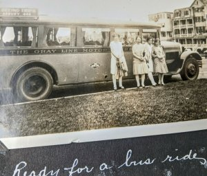 1920s era Gray Line Bus Old Photo and Album Camping Valley Forge Asbury Park