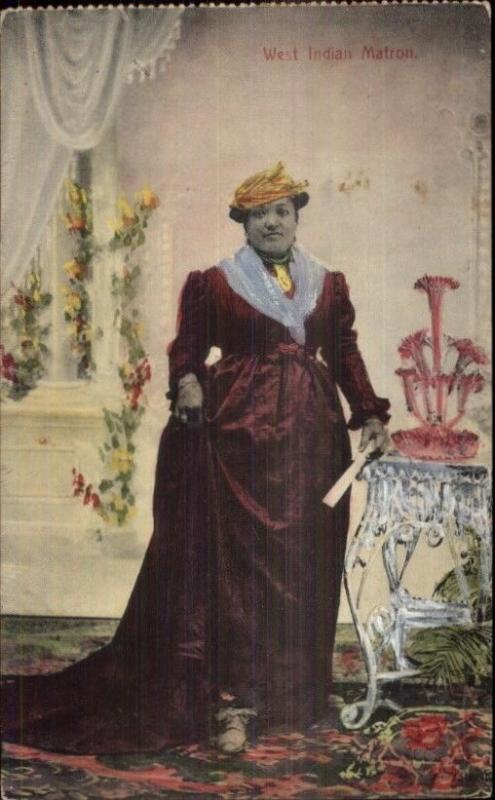 West Indian Matron - Woman in Dress - Publ in Trinidad c1910 Postcard