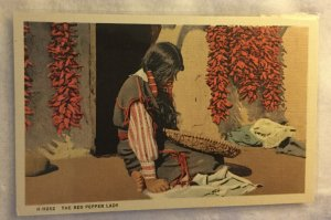 Vintage Linen Postcard the Red Pepper Lady Indian Woman Pueblo Woman