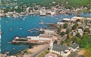 Maine Boothbay Harbor Looking Over Our Lady Queen Of Peace & Fishing Wharfs