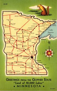 Minnesota Greetings With Map From The Gopher State 1942 Curteich