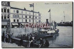 Old Postcard Honfleur Arrival of Boat Harbor