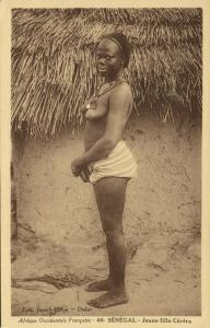 senegal, A.O.F., Young Native Girl of Cérère Tribe (1930s)