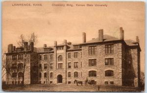 University of Kansas Postcard Chemistry Building, Kansas State Univ. PCK 1910s