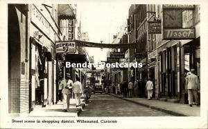 curacao, N.A., WILLEMSTAD, Street Scene Shopping District (1951) RPPC Stamp