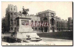 Postcard Old Windsor Castle The Quadrangle Showing Statue of Charles II