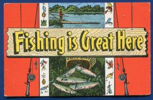 Fishing is Great Here Large Letters letter linen postcard