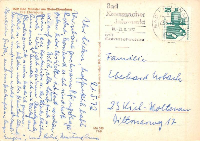 Bad Muenster Am Stein Ebernburg Castle Camping River / Hippostcard