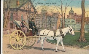 P1920 1935 postcard caleche horse & wagon town view old stamp quebec canada