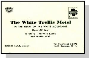North Conway, New Hampshire/NH, White Trellis Motel Card