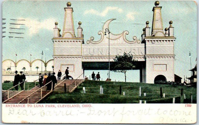Cleveland, Ohio Postcard Entrance to LUNA PARK Amusement Park 1907 Cancel