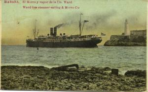 cuba, HAVANA HABANA, Ward Line Steamer Sailing, Morro Lighthouse (1912)