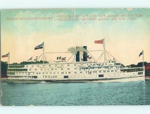 Divided-Back TROJAN SHIP Troy & Albany To New York City NY hp8517