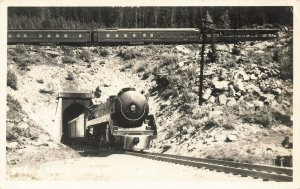 Banff Canada Canadian Pacific Line Dual Trains Tunnel Real Photo Postcard