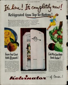 1948 Kelvinator Refrigerator Its Here Its Completly New! Vintage Print Ad 3752
