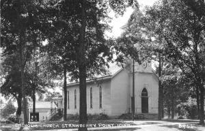 Strawberry Point IA~Catholic Church~Garage Behind~1954 Real Photo Postcard RPPC