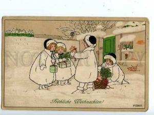 126803 NEW YEAR Kids w/ PIGS by EBNER vintage Vienne Munk PC