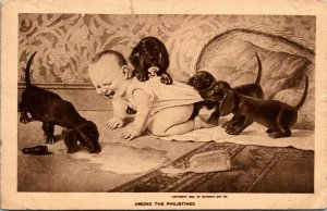 POSTCARD - Baby Spilled Milk with Dogs - AMONG THE PHILISTINES PICTURE - 1909