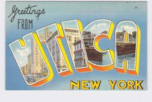 BIG LARGE LETTER VINTAGE POSTCARD GREETINGS FROM NEW YORK UTICA