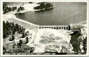 CORNELL, Wisconsin RPPC Photo Postcard Aerial View Northern State Power Co Dam