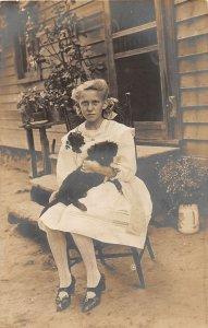 G53/ Interesting RPPC Postcard c1910 Cute Girl Pet Dog 17