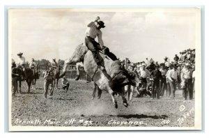 Postcard Kenneth Muir #53 Steer Cheyenne WY 1950 cowboy rodeo RPPC A49