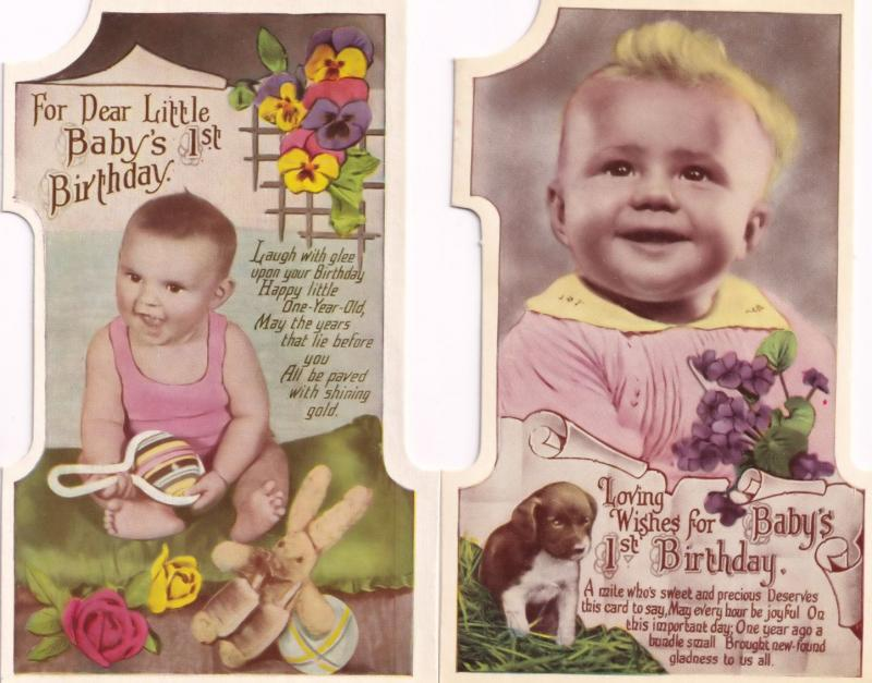 Babys First Birthday 2x Antique Teddy Bear Dog Real Photo Shaped Postcard s