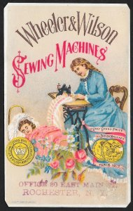 VICTORIAN TRADE CARD Wheeler & Wilson Sewing Machines Lady Sewing Sleeping Child