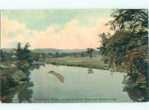 Divided-back RIVER SCENE Greenfield - Near Northampton & Amherst MA AE6688