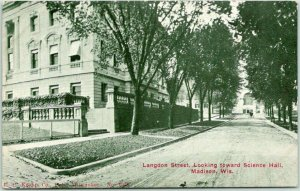 1910s UNIVERISTY OF WISCONSIN Postcard Langdon Street / Science Hall Madison
